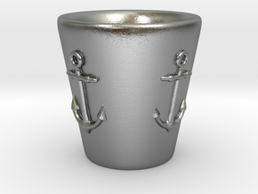 Nautical Anchor Shot Glass in Natural Silver