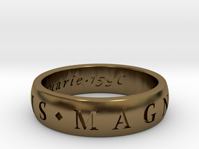 Size 10 Sir Francis Drake, Sic Parvis Magna Ring  in Polished Bronze