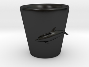 Dolphin Shot Glass in Matte Black Porcelain