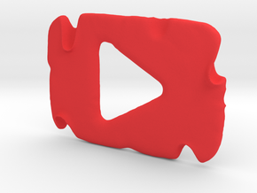 Destroyed YouTube Play Button in Red Processed Versatile Plastic