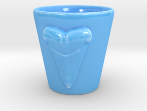 Shark tooth shot glass in Gloss Blue Porcelain