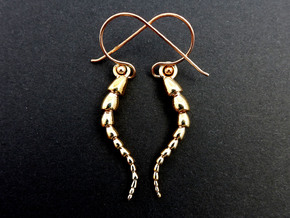 Leptohalysis Benthic Foraminiferan Earrings in Polished Bronze