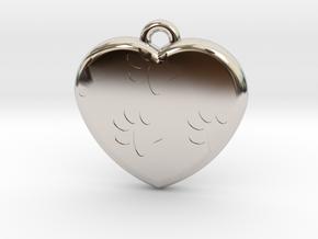 Pawprints On My Heart Pendant in Platinum