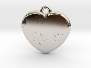 Pawprints On My Heart Pendant in Rhodium Plated Brass