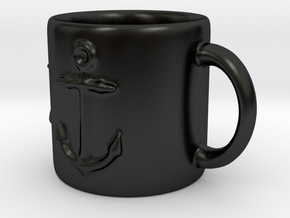 Nautical Anchor Coffee mug in Matte Black Porcelain
