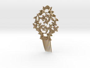 Hair Comb in Polished Gold Steel