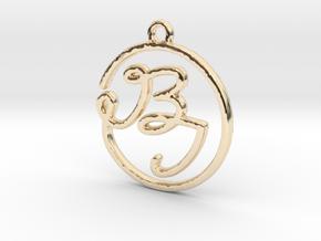 B & I Script Monogram Pendant in 14k Gold Plated Brass