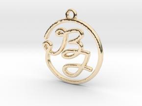 B & J Script Monogram Pendant in 14k Gold Plated Brass
