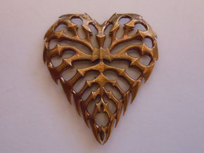 Rib Heart 2 in Natural Brass
