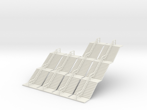 N Scale Stairs 2x30 2x45mm in White Natural Versatile Plastic
