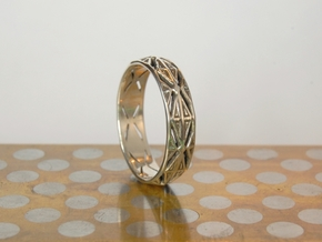 Cut Facets Ring Sz. 5 in Polished Silver
