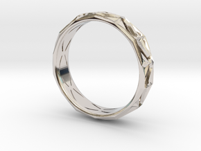 Cut Facets Ring Sz. 8.5 in Rhodium Plated Brass