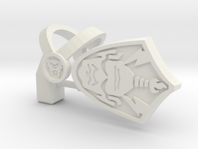 "Tiger Harness, Hammer and Shield ""C"" Parts in White Natural Versatile Plastic"