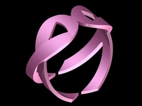 Double Ribbon 3D Breast Cancer Ring in Pink Strong & Flexible Polished