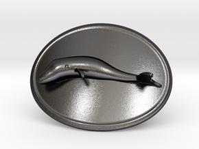 Whale Belt Buckle in Polished Grey Steel