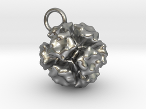 Adenovirus Pendant 15mm  in Raw Silver