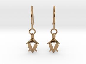 Holy Turtle Heart Earrings in Polished Brass