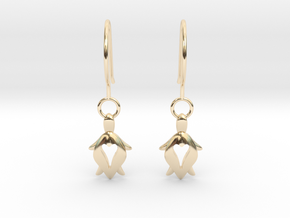 Holy Turtle Heart Earrings in 14K Yellow Gold