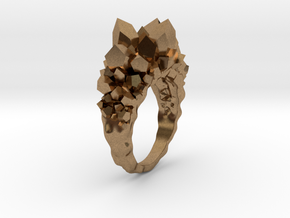 Crystal Ring Size 7.5 in Natural Brass