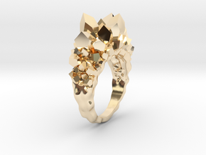 Crystal Ring Size 7.5 in 14k Gold Plated Brass