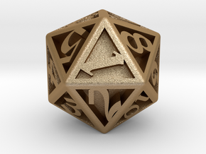 D20, Engraved  in Matte Gold Steel