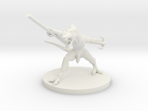 Lizard Warrior - 3D printed miniature in White Natural Versatile Plastic