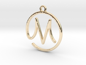M Script Monogram Pendant in 14k Gold Plated Brass