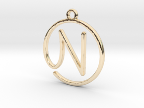 N Script Monogram Pendant in 14k Gold Plated Brass