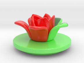 Cup3-lid-flower-3d in Glossy Full Color Sandstone