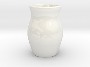 """Home Is Where the Heart Is"" Vase in Gloss White Porcelain"