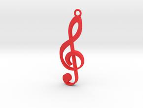 music note pendant/keyring in Red Processed Versatile Plastic
