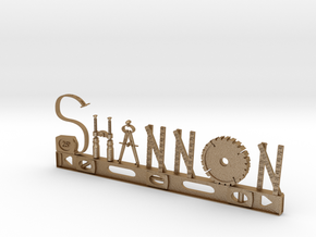 Shannon Nametag With Posts in Matte Gold Steel