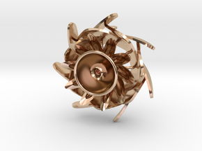 Flower Cup Brooch in 14k Rose Gold Plated Brass