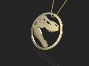Tyrannosaurus Head bone necklace Pendant in 14k Gold Plated Brass