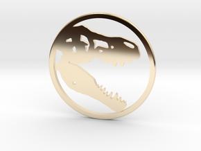 Tyrannosaurus Head bone necklace Pendant in 14K Yellow Gold