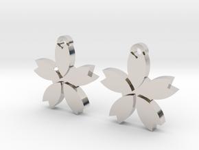 Sakura (Cherry Blossom) Flower Earrings in Rhodium Plated Brass