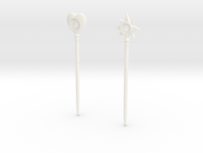 """Magic wands of Trollan """"heart and star SET"""" in White Processed Versatile Plastic"""