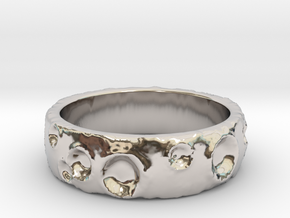 Moon Ring in Rhodium Plated Brass: 8 / 56.75
