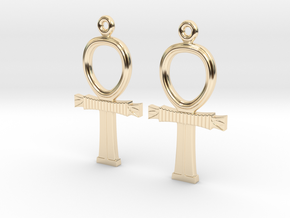 Ankh EarRings - Pair - Precious Metal in 14k Gold Plated Brass