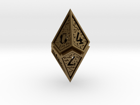 Hedron D10: Open (Hollow), balanced gaming die in Natural Bronze