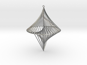String Sculptures Pendant - Straight Line Curve in Natural Silver