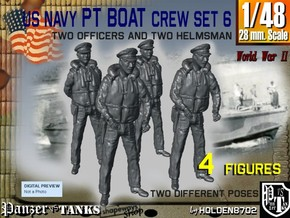 1-48 US Navy PT Boat Crew Set6 in Smooth Fine Detail Plastic