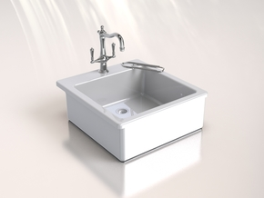 Miniature Doll House Kitchen Sink B, 1:12 in White Processed Versatile Plastic