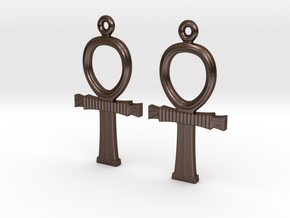 Ankh EarRings - Pair - Metal in Polished Bronze Steel