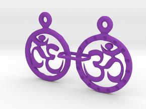 Om EarRings - Pair - Plastic in Purple Processed Versatile Plastic