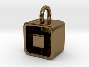 Levitation Cube Pendant in Polished Bronze