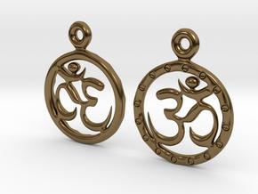 Om EarRings - Pair - Metal in Polished Bronze