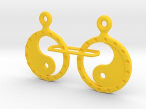 YinYang EarRings 2 - Pair - Plastic in Yellow Processed Versatile Plastic