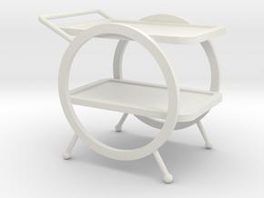 1:12 Art Deco Bar Cart in White Natural Versatile Plastic