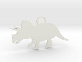 Triceratops necklace Pendant in White Natural Versatile Plastic